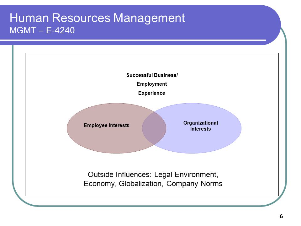 6 Human Resources Management MGMT – E-4240 Successful Business/ Employment Experience Employee Interests Organizational Interests Outside Influences: