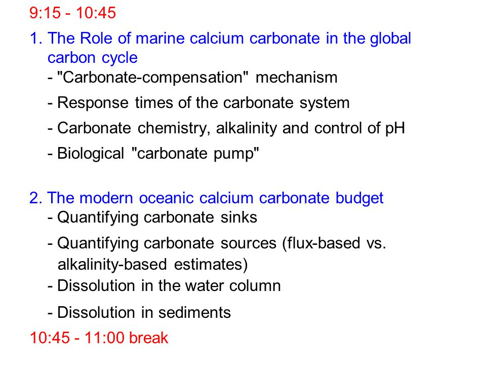 9:15 - 10:45 1.The Role of marine calcium carbonate in the global carbon cycle -