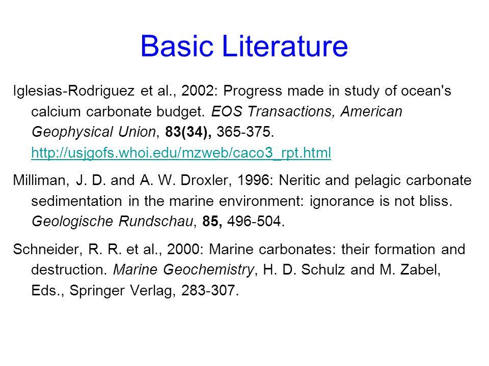 Oceanic Carbonate Production From sediment-trap data: –Milliman, J.