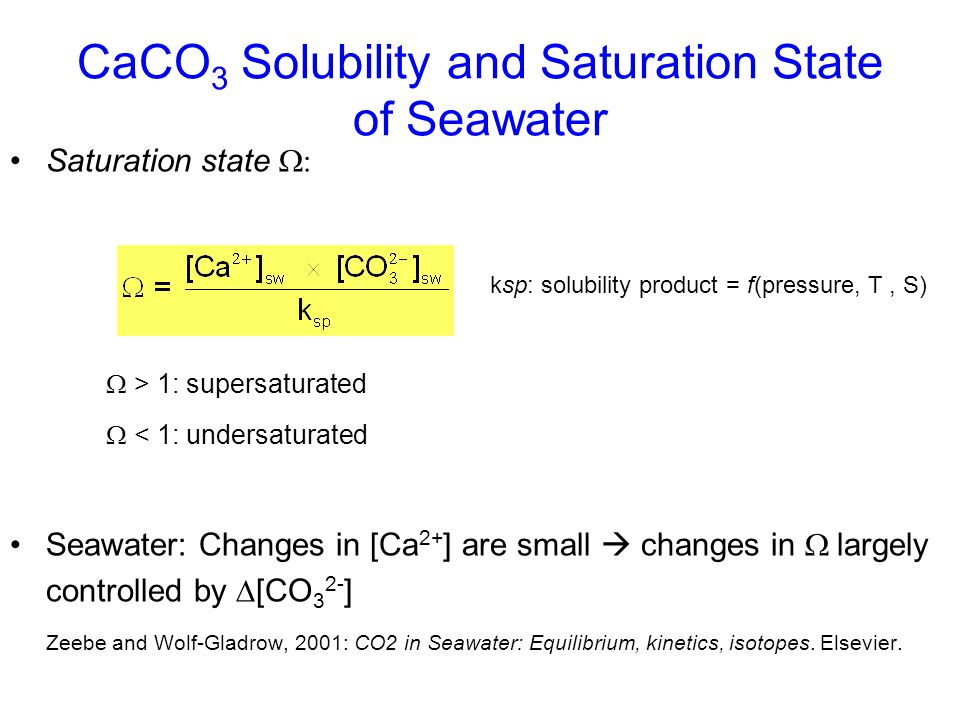 CaCO 3 Solubility and Saturation State of Seawater Zeebe and Wolf-Gladrow (2001)