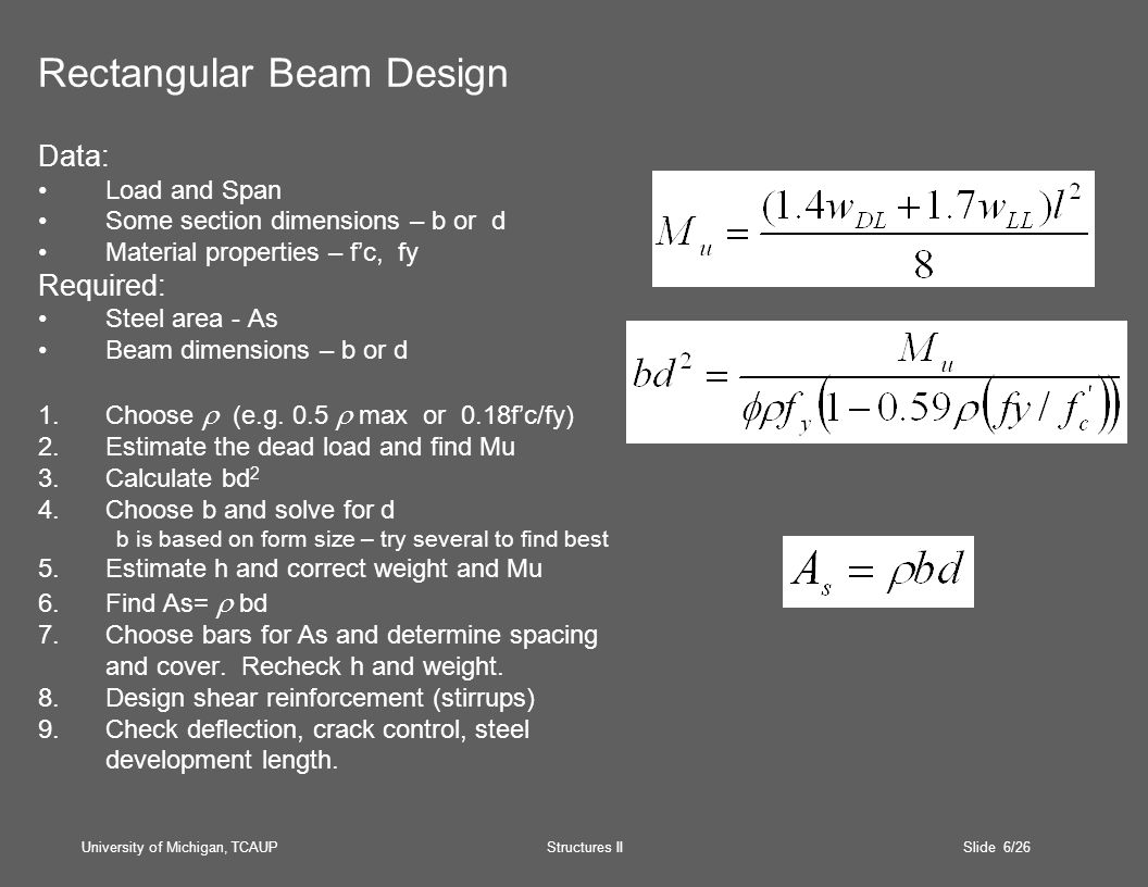 University of Michigan, TCAUP Structures II Slide 6/26 Rectangular Beam Design Data: Load and Span Some section dimensions – b or d Material properties – f'c, fy Required: Steel area - As Beam dimensions – b or d 1.Choose  (e.g.