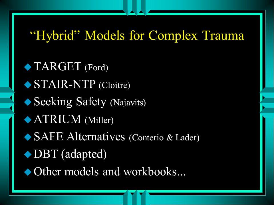 Hybrid Models for Complex Trauma u TARGET (Ford) u STAIR-NTP (Cloitre) u Seeking Safety (Najavits) u ATRIUM (Miller) u SAFE Alternatives (Conterio & Lader) u DBT (adapted) u Other models and workbooks...