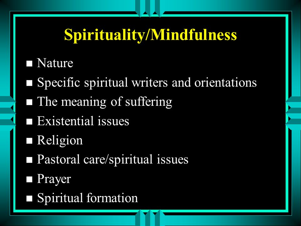 Spirituality/Mindfulness n Nature n Specific spiritual writers and orientations n The meaning of suffering n Existential issues n Religion n Pastoral