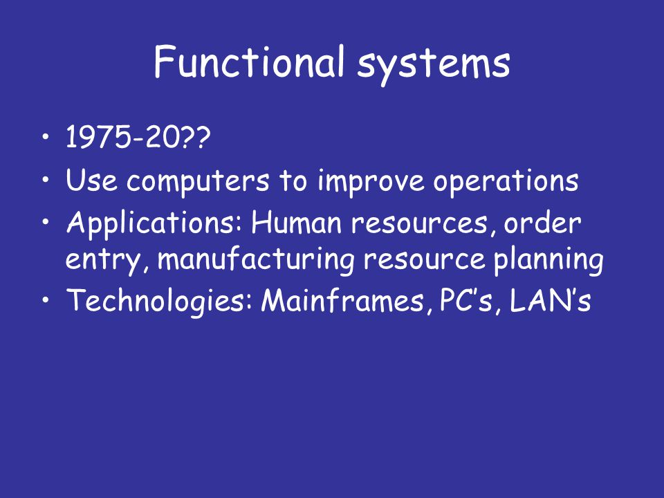 Functional systems 1975-20?.