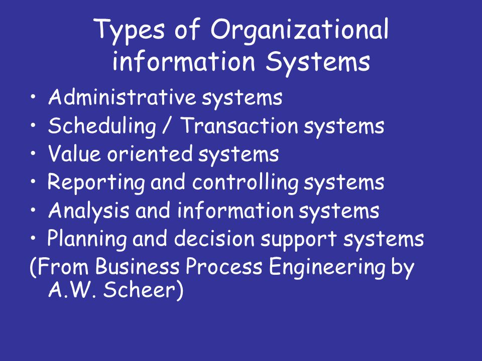 Types of Organizational information Systems Administrative systems Scheduling / Transaction systems Value oriented systems Reporting and controlling systems Analysis and information systems Planning and decision support systems (From Business Process Engineering by A.W.