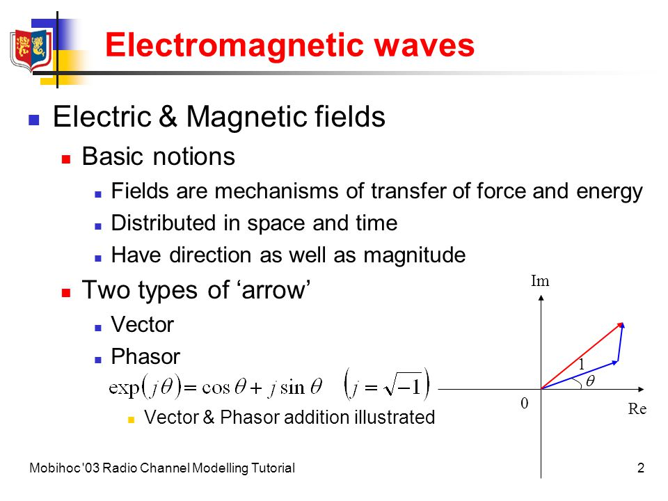 3Mobihoc 03 Radio Channel Modelling Tutorial Electromagnetic waves Vector plane waves Frequency Wavenumber Wavelength