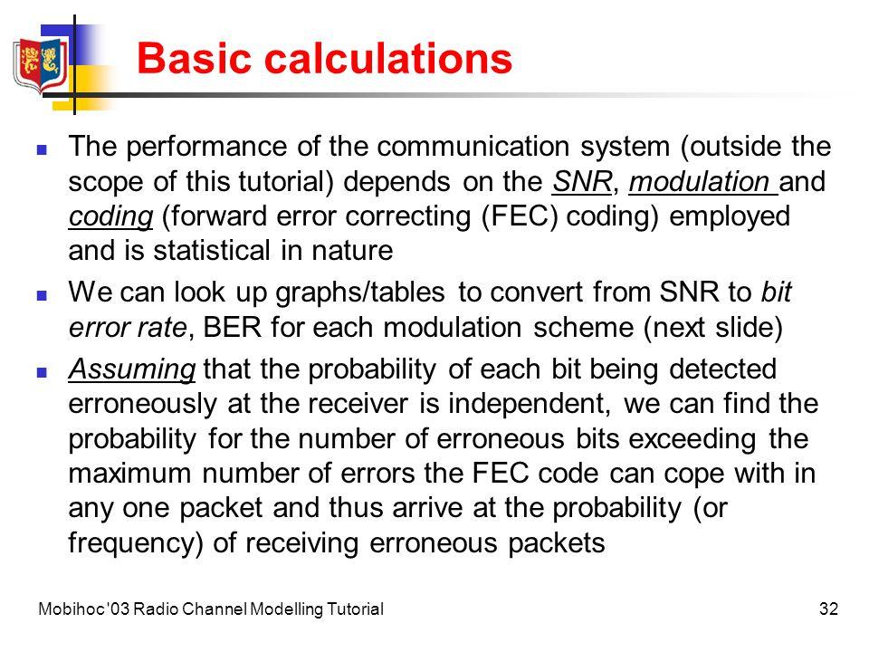33Mobihoc 03 Radio Channel Modelling Tutorial Basic calculations