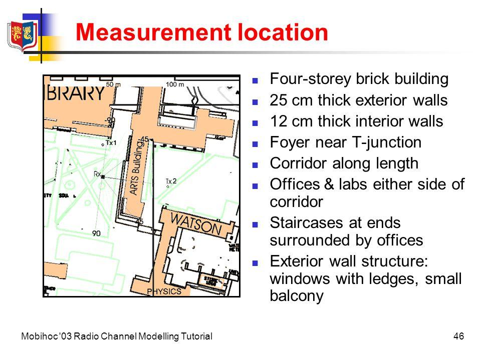 47Mobihoc 03 Radio Channel Modelling Tutorial Measurement location