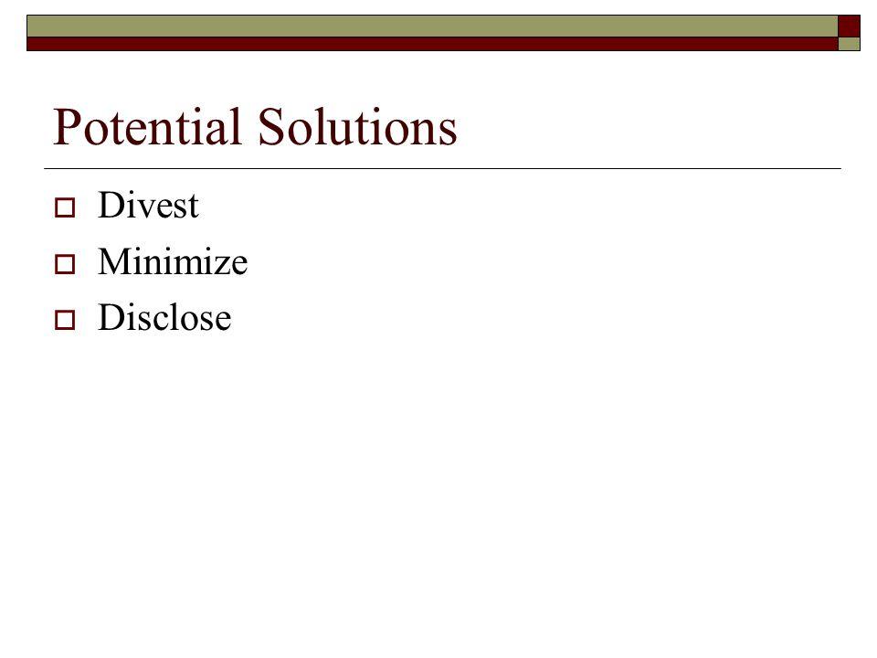 Potential Solutions  Divest  Minimize  Disclose