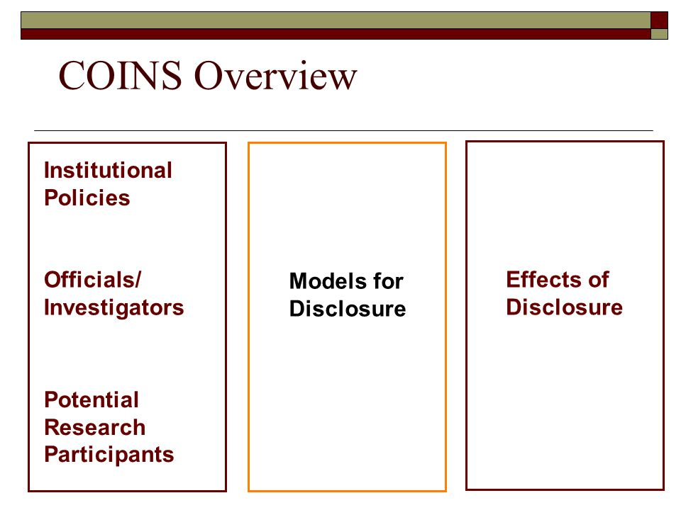 COINS Overview Institutional Policies Officials/ Investigators Potential Research Participants Models for Disclosure Effects of Disclosure