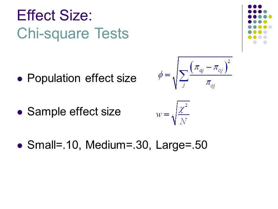 Effect Size: Chi-square Tests Population effect size Sample effect size Small=.10, Medium=.30, Large=.50