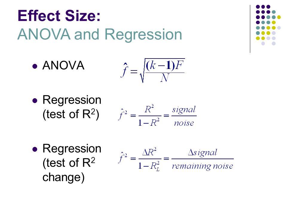 Effect Size: ANOVA and Regression ANOVA Regression (test of R 2 ) Regression (test of R 2 change)