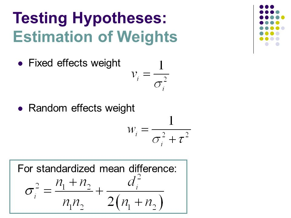 Fixed effects weight Random effects weight For standardized mean difference: Testing Hypotheses: Estimation of Weights