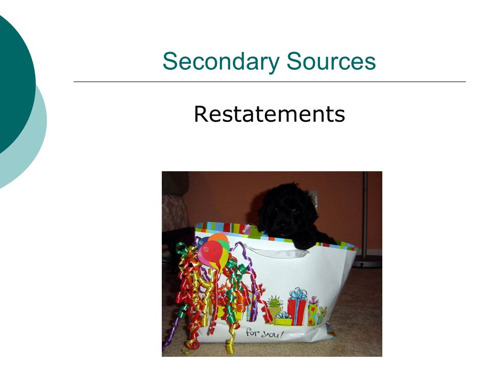 Secondary Sources Restatements