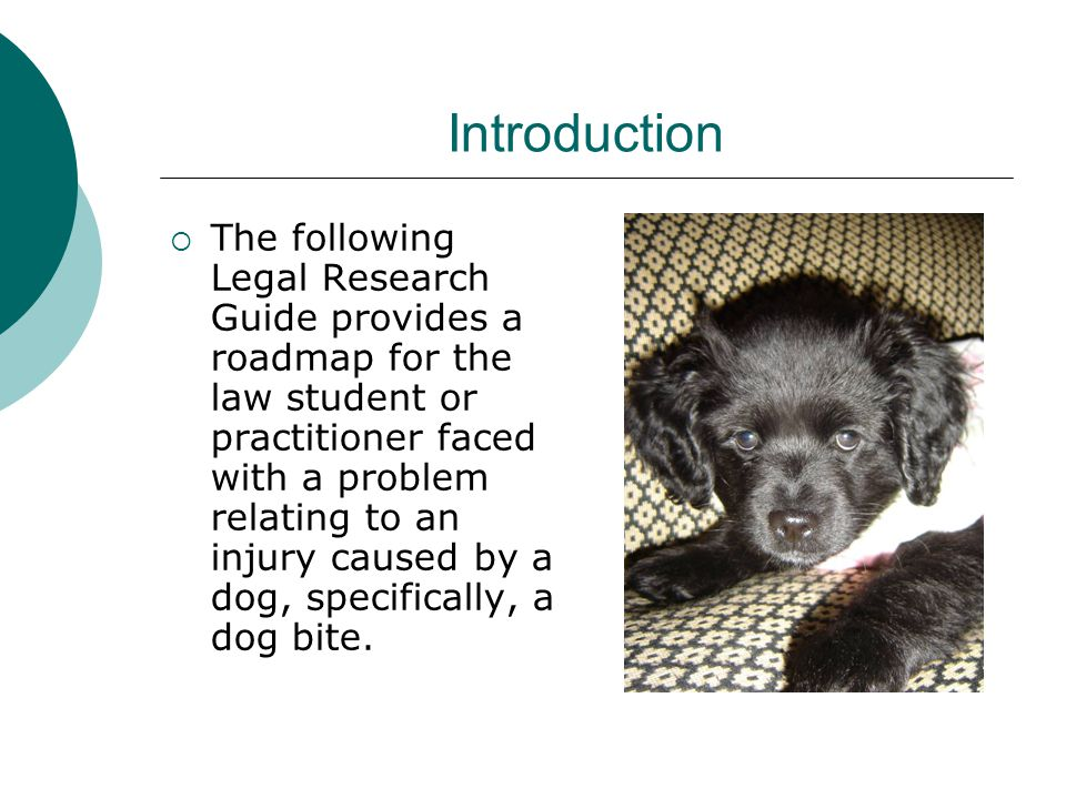 Introduction  The following Legal Research Guide provides a roadmap for the law student or practitioner faced with a problem relating to an injury caused by a dog, specifically, a dog bite.