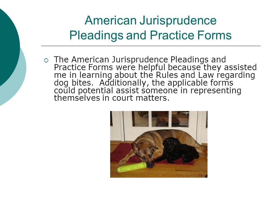 American Jurisprudence Pleadings and Practice Forms  The American Jurisprudence Pleadings and Practice Forms were helpful because they assisted me in learning about the Rules and Law regarding dog bites.