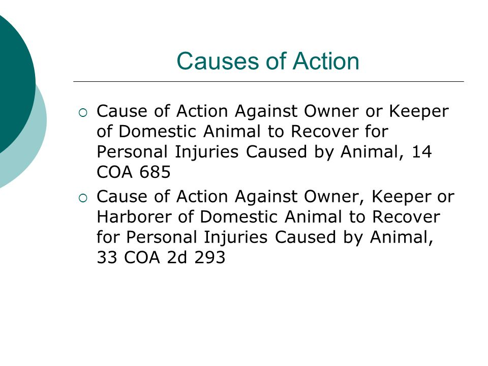 Causes of Action  Cause of Action Against Owner or Keeper of Domestic Animal to Recover for Personal Injuries Caused by Animal, 14 COA 685  Cause of Action Against Owner, Keeper or Harborer of Domestic Animal to Recover for Personal Injuries Caused by Animal, 33 COA 2d 293