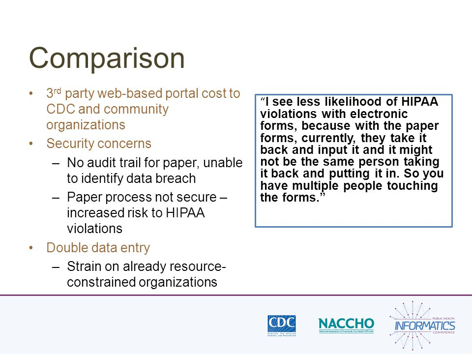 Comparison 3 rd party web-based portal cost to CDC and community organizations Security concerns –No audit trail for paper, unable to identify data breach –Paper process not secure – increased risk to HIPAA violations Double data entry –Strain on already resource- constrained organizations I see less likelihood of HIPAA violations with electronic forms, because with the paper forms, currently, they take it back and input it and it might not be the same person taking it back and putting it in.