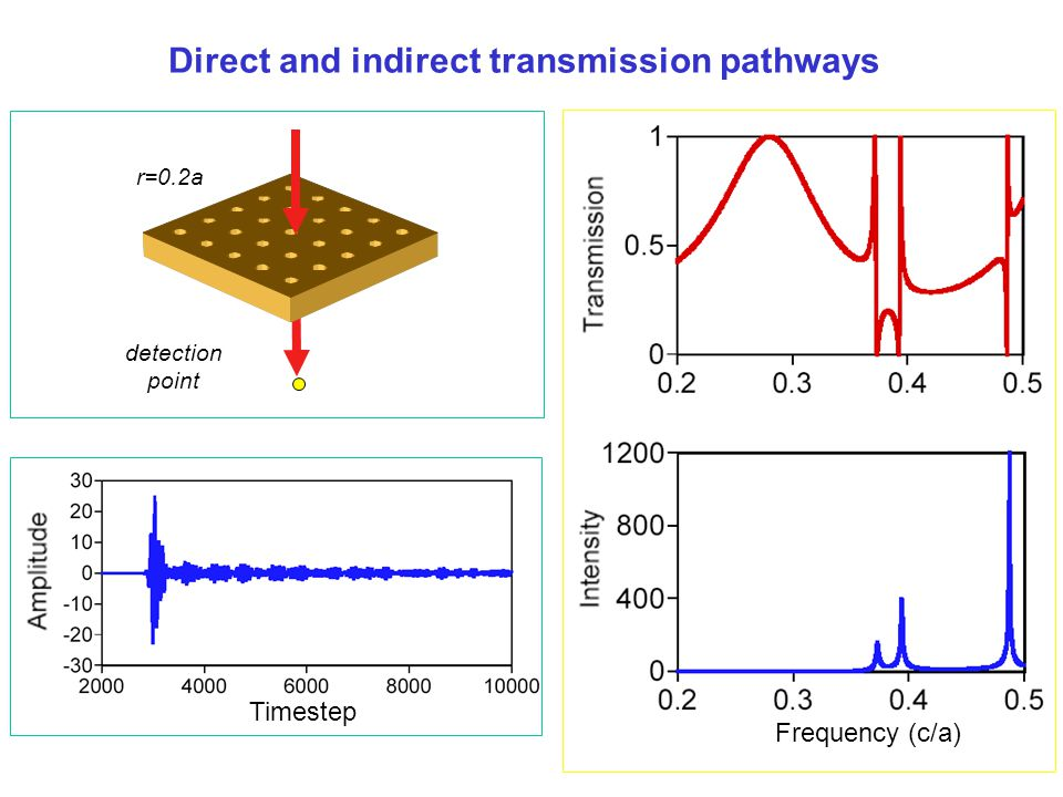 Direct and indirect transmission pathways r=0.2a Frequency (c/a) Timestep detection point