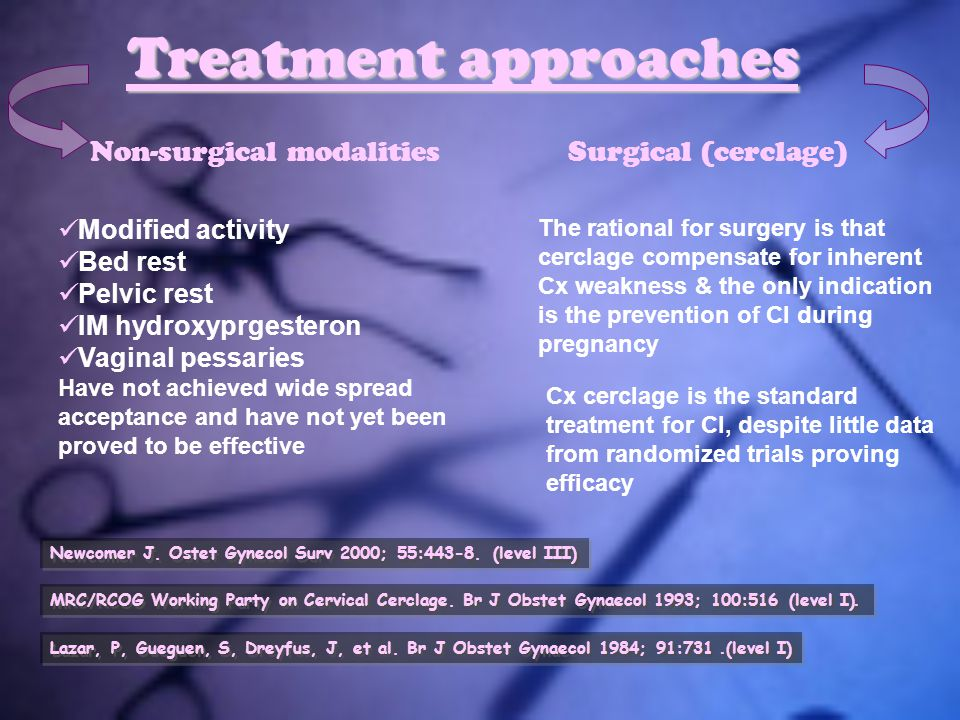 Treatment approaches Non-surgical modalities Modified activity Bed rest Pelvic rest IM hydroxyprgesteron Vaginal pessaries Have not achieved wide spre