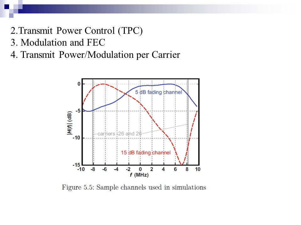 2.Transmit Power Control (TPC) 3. Modulation and FEC 4. Transmit Power/Modulation per Carrier