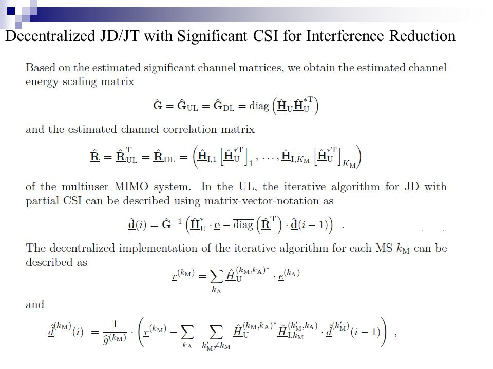 Decentralized JD/JT with Significant CSI for Interference Reduction