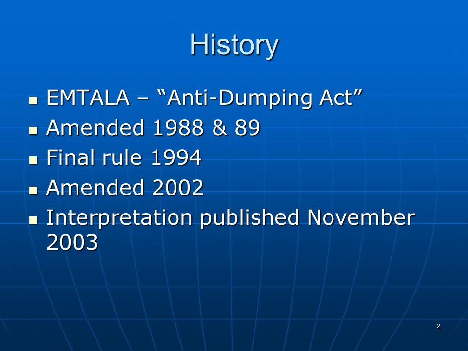 2 History EMTALA – Anti-Dumping Act EMTALA – Anti-Dumping Act Amended 1988 & 89 Amended 1988 & 89 Final rule 1994 Final rule 1994 Amended 2002 Amended 2002 Interpretation published November 2003 Interpretation published November 2003