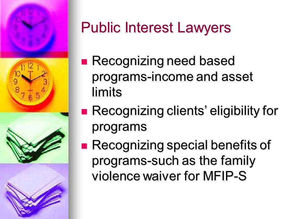 Public Interest Lawyers Recognizing need based programs-income and asset limits Recognizing need based programs-income and asset limits Recognizing clients' eligibility for programs Recognizing clients' eligibility for programs Recognizing special benefits of programs-such as the family violence waiver for MFIP-S Recognizing special benefits of programs-such as the family violence waiver for MFIP-S