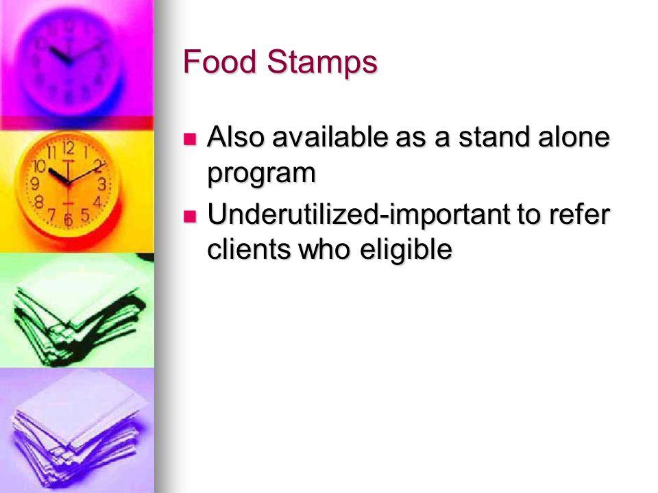 Food Support or Food Stamps National National http://www.cbpp.org http://www.cbpp.org http://www.cbpp.org Food Research and Action Center Food Research and Action Center http://www.frac.org http://www.frac.org http://www.frac.org Supplemental Nutrition Assistance Program-new name \