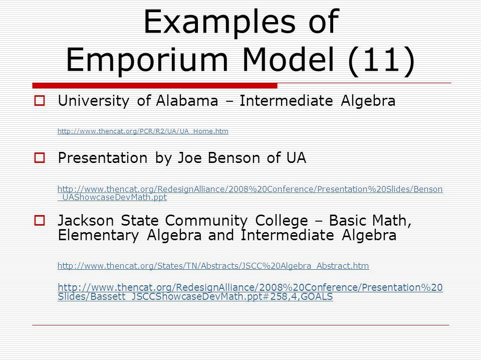  University of Alabama – Intermediate Algebra http://www.thencat.org/PCR/R2/UA/UA_Home.htm  Presentation by Joe Benson of UA http://www.thencat.org/RedesignAlliance/2008%20Conference/Presentation%20Slides/Benson _UAShowcaseDevMath.ppt  Jackson State Community College – Basic Math, Elementary Algebra and Intermediate Algebra http://www.thencat.org/States/TN/Abstracts/JSCC%20Algebra_Abstract.htm http://www.thencat.org/RedesignAlliance/2008%20Conference/Presentation%20 Slides/Bassett_JSCCShowcaseDevMath.ppt#258,4,GOALS Examples of Emporium Model (11)