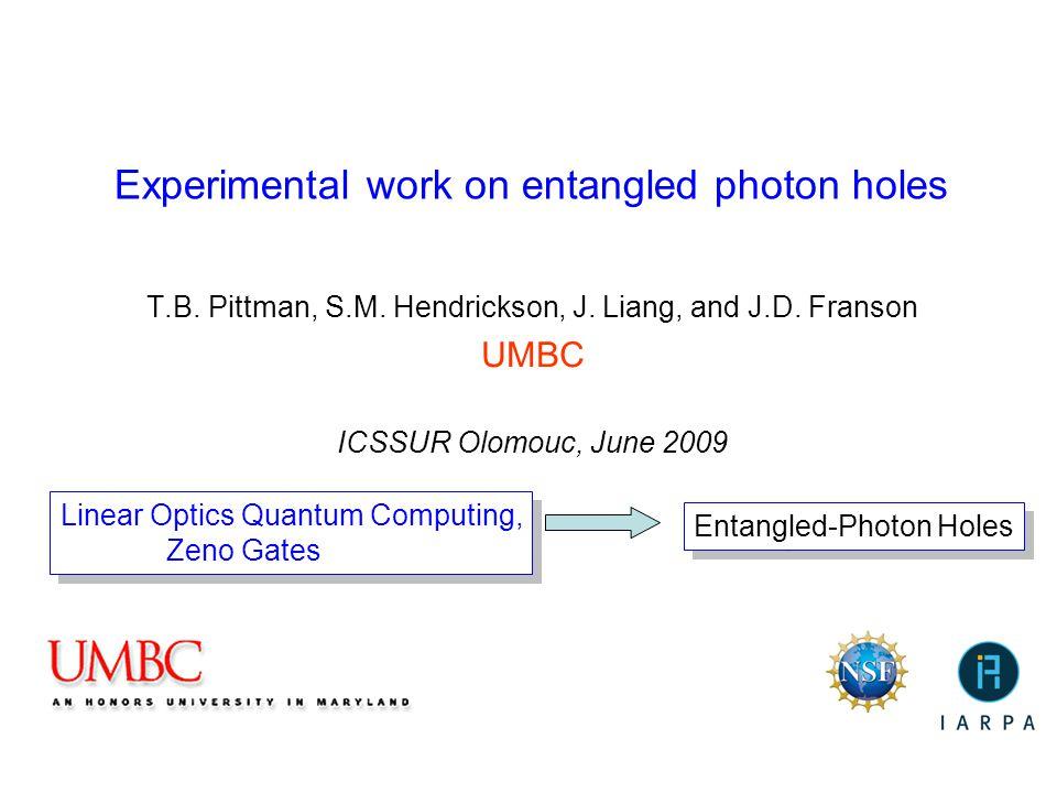 Experimental work on entangled photon holes T.B. Pittman, S.M. Hendrickson, J. Liang, and J.D. Franson UMBC ICSSUR Olomouc, June 2009 Linear Optics Qu