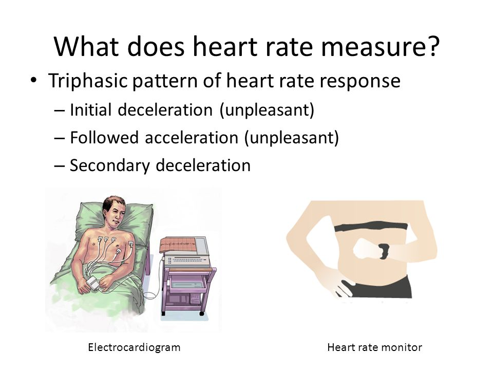 What does heart rate measure? Triphasic pattern of heart rate response – Initial deceleration (unpleasant) – Followed acceleration (unpleasant) – Seco