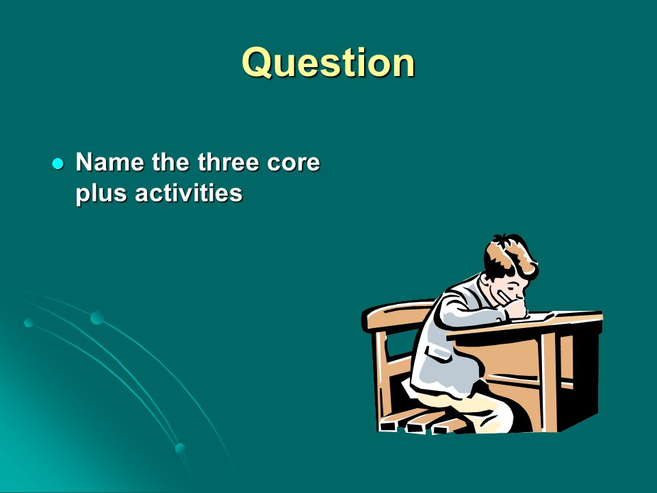 Question Name the three core plus activities Name the three core plus activities