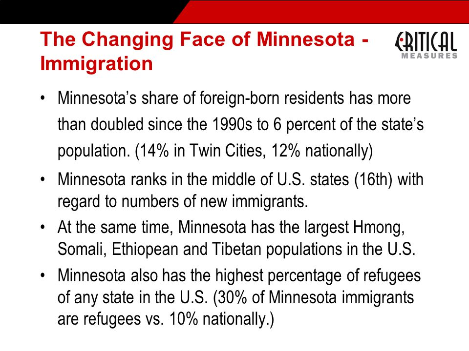 The Changing Face of Minnesota - Immigration Minnesota's share of foreign-born residents has more than doubled since the 1990s to 6 percent of the state's population.