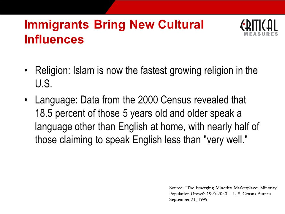 Immigrants Bring New Cultural Influences Religion: Islam is now the fastest growing religion in the U.S.