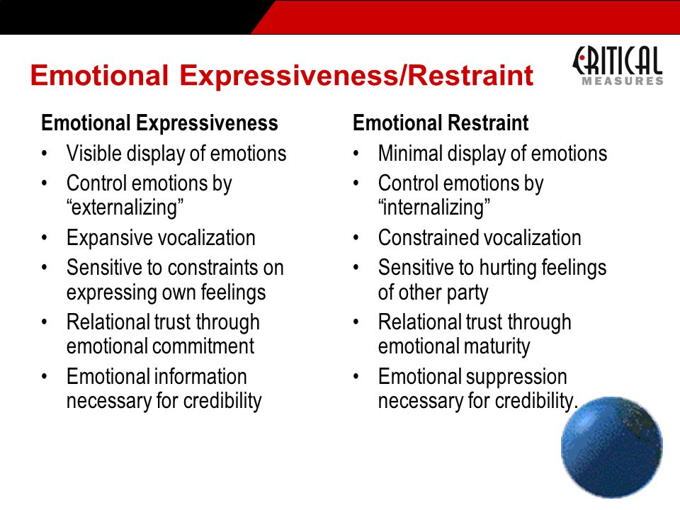 Emotional Expressiveness/Restraint Emotional Expressiveness Visible display of emotions Control emotions by externalizing Expansive vocalization Sensitive to constraints on expressing own feelings Relational trust through emotional commitment Emotional information necessary for credibility Emotional Restraint Minimal display of emotions Control emotions by internalizing Constrained vocalization Sensitive to hurting feelings of other party Relational trust through emotional maturity Emotional suppression necessary for credibility..