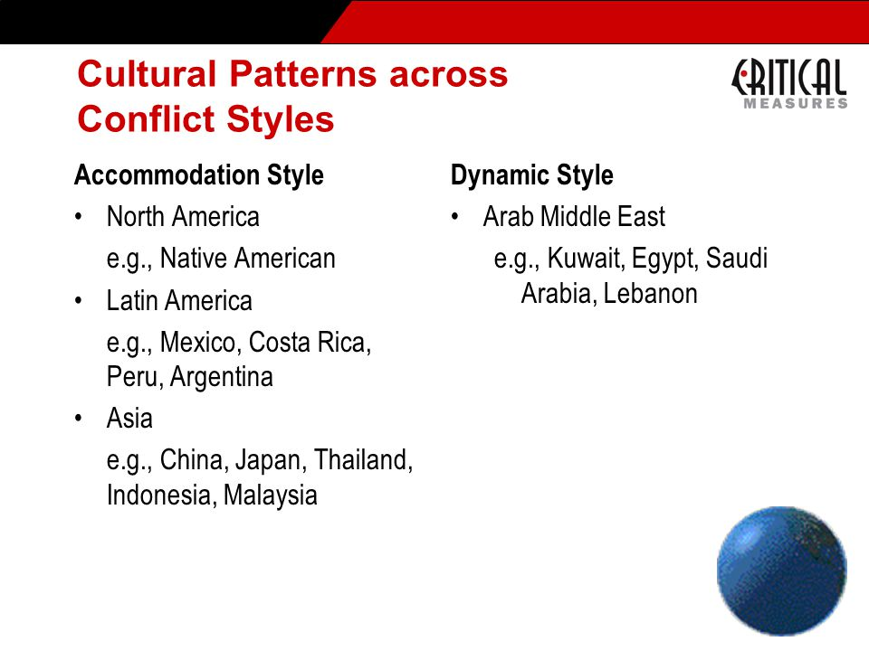 Cultural Patterns across Conflict Styles Accommodation Style North America e.g., Native American Latin America e.g., Mexico, Costa Rica, Peru, Argentina Asia e.g., China, Japan, Thailand, Indonesia, Malaysia Dynamic Style Arab Middle East e.g., Kuwait, Egypt, Saudi Arabia, Lebanon