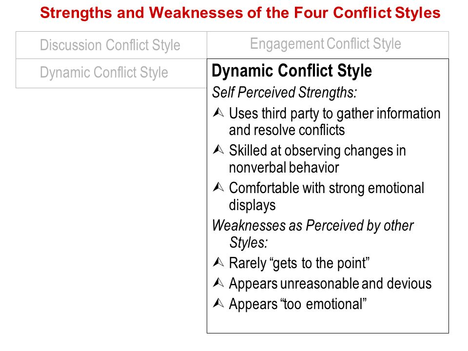 Dynamic Conflict Style Discussion Conflict Style Engagement Conflict Style Strengths and Weaknesses of the Four Conflict Styles Dynamic Conflict Style Self Perceived Strengths:  Uses third party to gather information and resolve conflicts  Skilled at observing changes in nonverbal behavior  Comfortable with strong emotional displays Weaknesses as Perceived by other Styles:  Rarely gets to the point  Appears unreasonable and devious  Appears too emotional