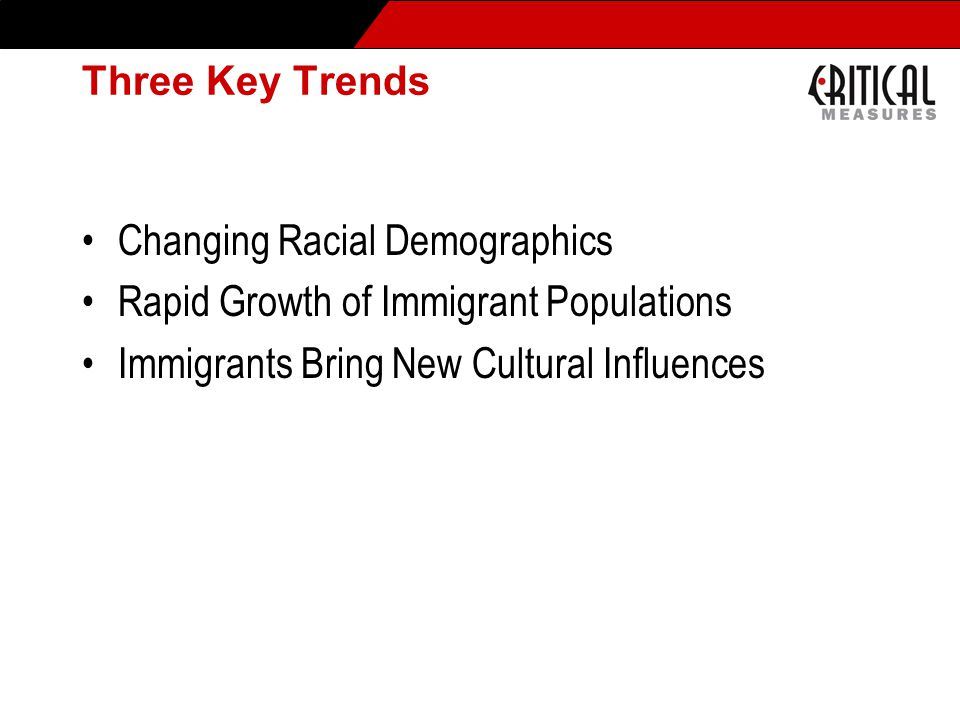 Changing Demographics – United States Between now and the year 2050, almost 90% of U.S.