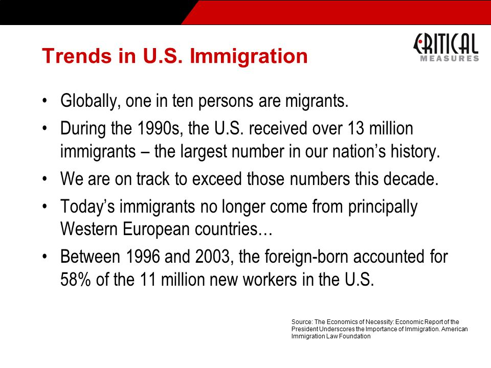 Trends in U.S. Immigration Globally, one in ten persons are migrants.