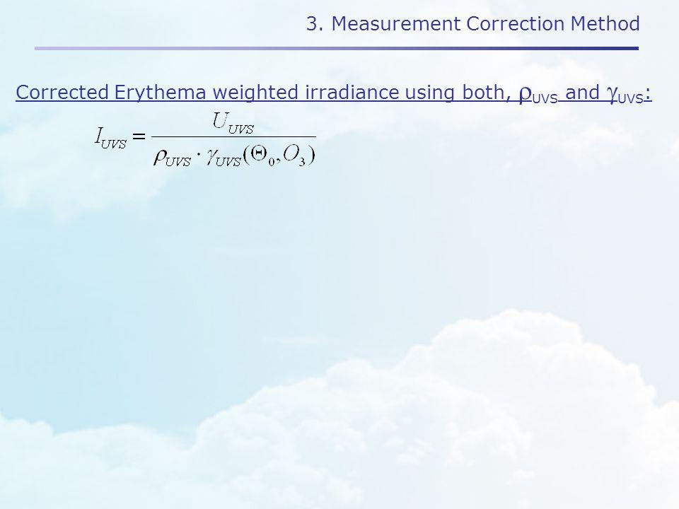 3. Measurement Correction Method Corrected Erythema weighted irradiance using both,  UVS and  UVS :
