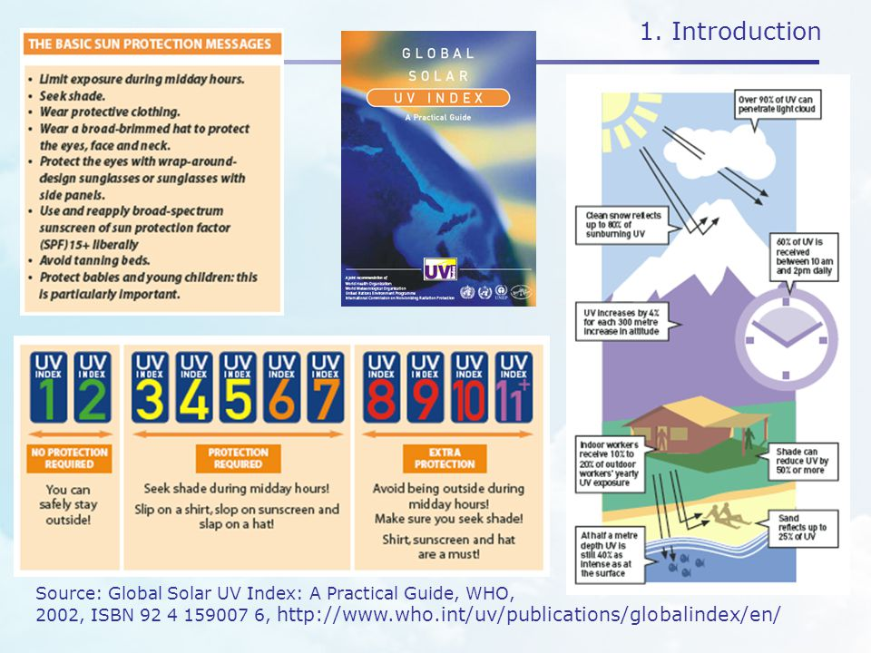1. Introduction Source: Global Solar UV Index: A Practical Guide, WHO, 2002, ISBN 92 4 159007 6, http://www.who.int/uv/publications/globalindex/en/