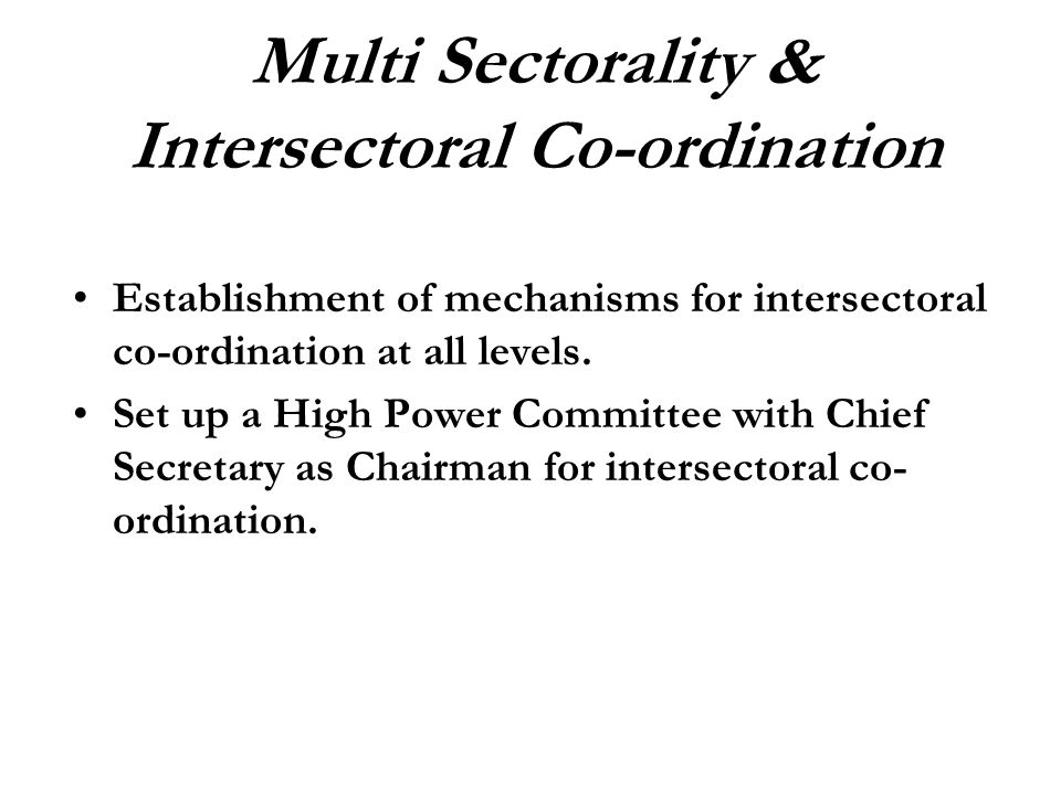 Establishment of mechanisms for intersectoral co-ordination at all levels. Set up a High Power Committee with Chief Secretary as Chairman for intersec