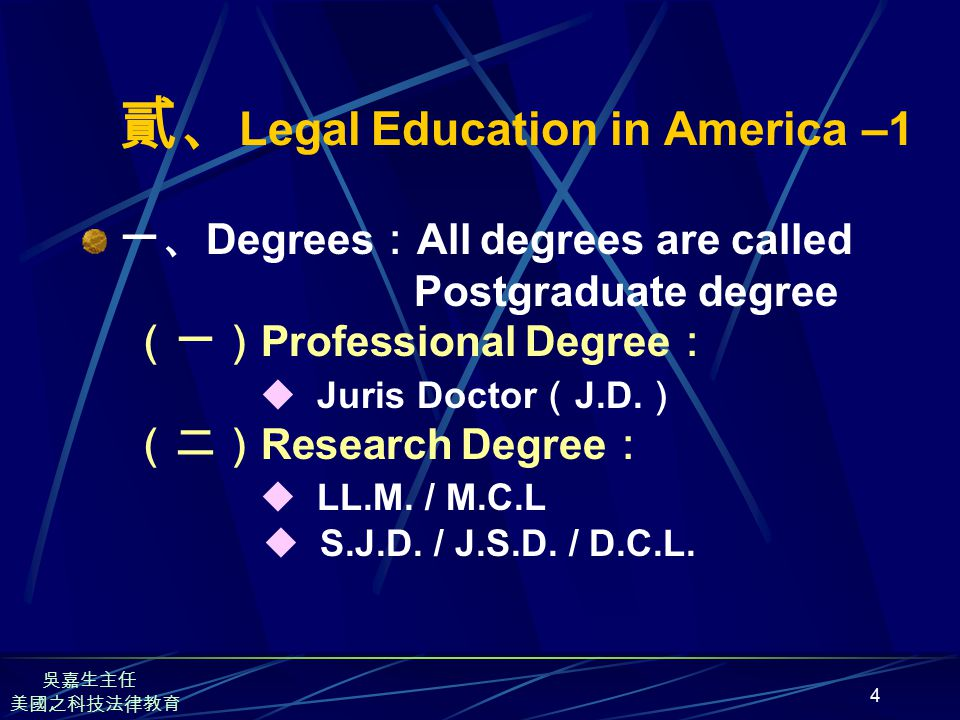 4 貳、 Legal Education in America –1 一、 Degrees : All degrees are called Postgraduate degree (一) Professional Degree :  Juris Doctor ( J.D.