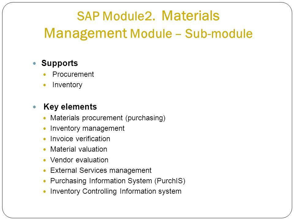Supports Procurement Inventory Key elements Materials procurement (purchasing) Inventory management Invoice verification Material valuation Vendor eva