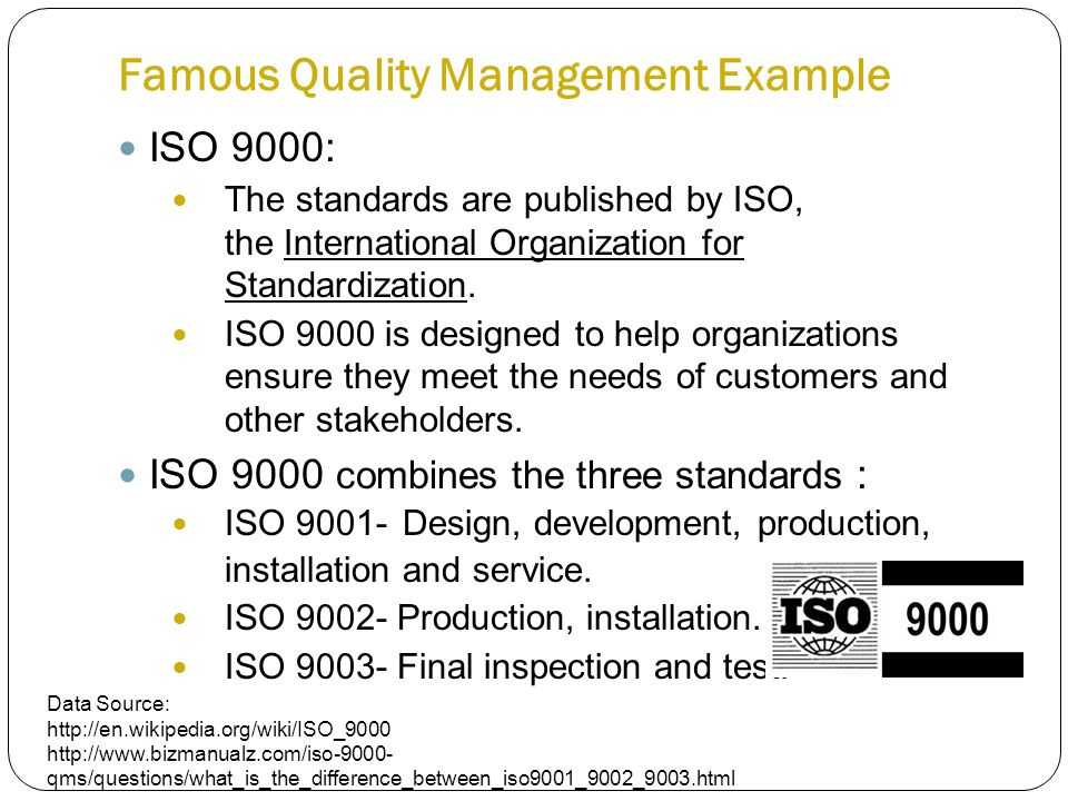 Famous Quality Management Example ISO 9000: The standards are published by ISO, the International Organization for Standardization.