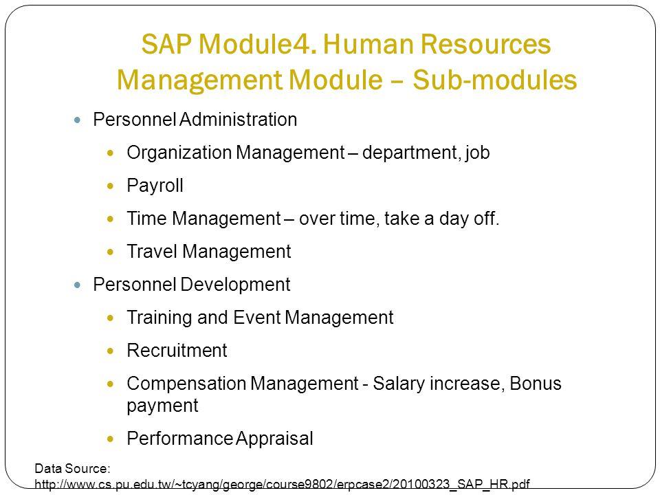 SAP Module4. Human Resources Management Module – Sub-modules Personnel Administration Organization Management – department, job Payroll Time Managemen