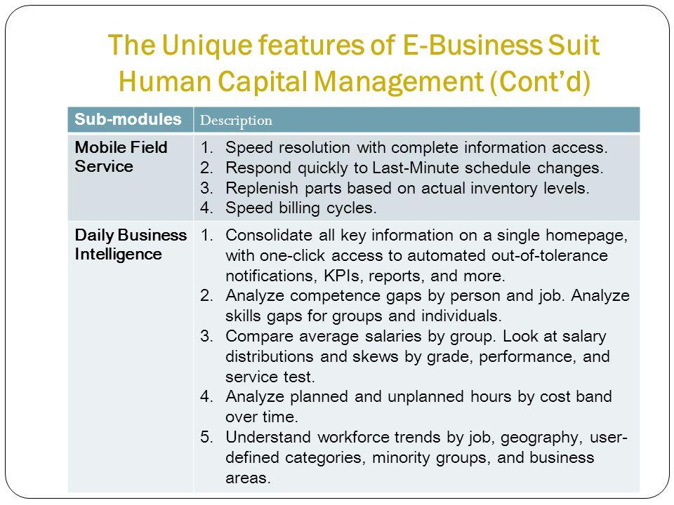 The Unique features of E-Business Suit Human Capital Management (Cont'd) Sub-modules Description Mobile Field Service 1.Speed resolution with complete information access.
