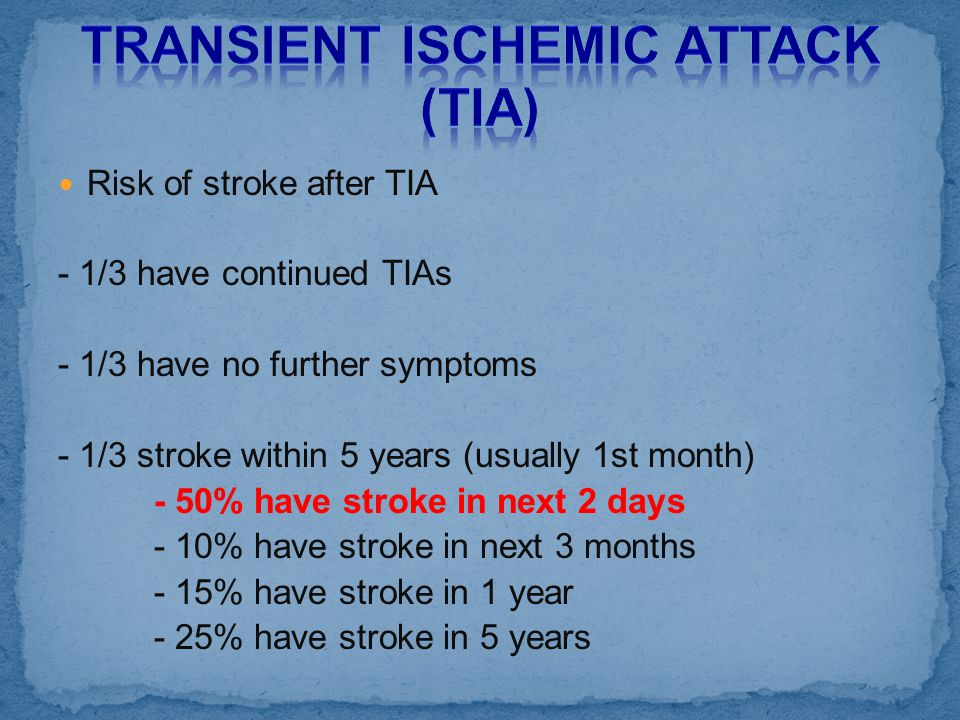Risk of stroke after TIA - 1/3 have continued TIAs - 1/3 have no further symptoms - 1/3 stroke within 5 years (usually 1st month) - 50% have stroke in