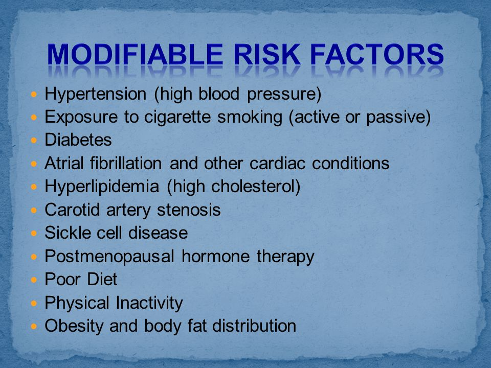 Hypertension (high blood pressure) Exposure to cigarette smoking (active or passive) Diabetes Atrial fibrillation and other cardiac conditions Hyperli